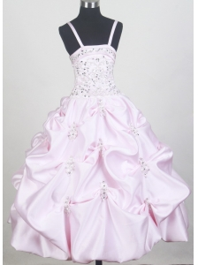 Beaded Decorate Bodice and Pick-ups For Baby Pink Little Girl Pageant Dresses