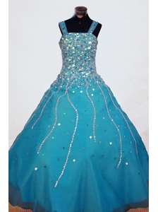 Beading A-line Gorgeous Straps Organza Teal Floor-length Little Girl Pageant Dresses