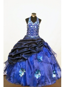 Beading Beautiful Ball gown Halter Floor-length Organza Blue Little Girl Pageant Dresses