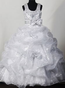 Beading Bowknot Organza and Sequin Fashionable Ball Gown Little Girl Pageant Dress Scoop Floor-length