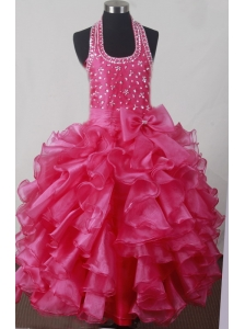 Beading Bowknot Ruffles Luxurious Ball Gown Little Girl Pageant Dress Halter Floor-length