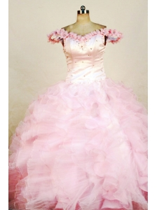 Beading Luxurious Ball gown Organza Off the shoulder neck Floor-length Pink Beading Little Girl Pageant Dresses