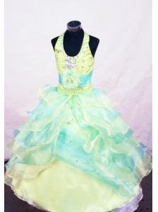Beading Modest Ball gown Halter Floor-length Multi-colored Little Girl Pageant Dresses
