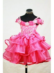 Beading Off the Shoulder Lovely Little Girl Pageant Dresses A-line Floor-length Red Appliques