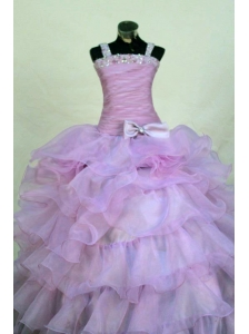 Beading Romantic Organza Straps Ball gown Floor-length Lavender Little Girl Pageant Dresses