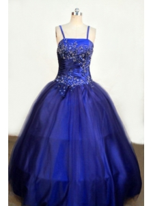 Beading Romantic Spaghetti Straps Tulle and Taffeta Ball gown Royal Blue Little Girl Pageant Dresses Floor-length