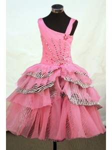 Beautiful Asymmetrical Neckline Rose Pink Organza Flower Girl Pageant Dress With Beaded Decorate
