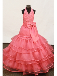 Beautiful Beading and Ruffled Layers Ball Gown Hater Little Girl Dress Floor-length