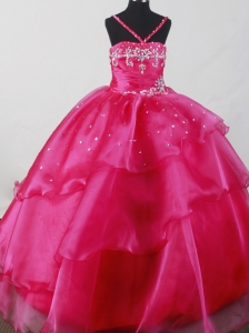 Beautiful Straps Fuchsia Little Girl Pageant Dresses  With Beading Organza