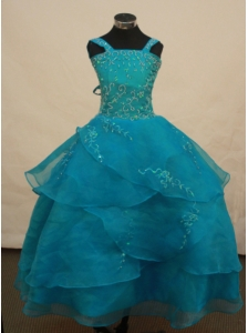 Beautiful Teal Flower Girl Pageant Dress With Appliques Decorate On Organza Straps Neckline