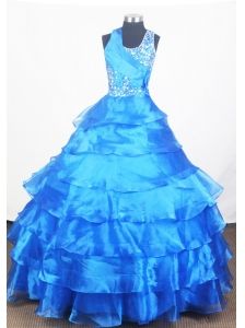 Blue Little Girl Pageant Dress With Ruffled Layered and Beading