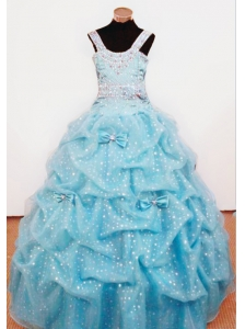 Bowknot Ball Gown Straps Aqua Blue Beading Little Girl Pageant Dresses For Custom Made