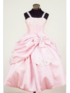 Bowknot Straps Baby Pink Taffeta Beading Little Girl Pageant Dresses For Custom Made