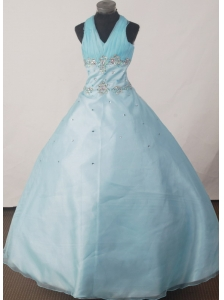 Brand New Ball Gown Beading Little Girl Pageant Dress Halter Floor-length