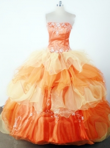 Classical Embroidery With Beading Ball Gown Strapless Floor-length Little Girl Pageant Dress