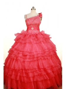 Custom Made Coral Red Little Girl Pageant Dress Asymmetrical Floor-Length Organza