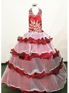 Custom Made Exclusive Halter Top Little Girl Pageant Dresses Hottest 2013