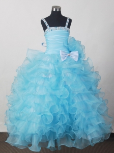 Custom Made For Affordable Little Girl Pageant Dresses With Beading Bow and Ruffled Layers