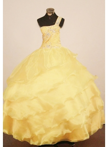 Custom Made Little Girl Pageant Dress One Shoulder Neck Floor-Length Yellow Ball Gown