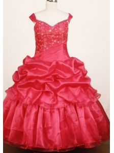 Custom Made Red Little Girl Pageant Dress Ball Gown Off The Shulder Floor-Length