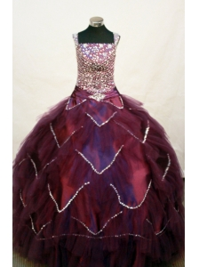 Custom Made Square Neckline Burgundy Beaded Decorate Bodice Flower Girl Pageant Dress