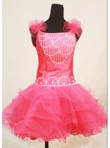 Custom Made Sweet Straps Mini-length Pink Organza Beaded Little Girl Pageant Dresses