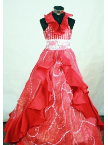 Customize Halter Top Red Organza Beaded Little Girl Pageant Dresses