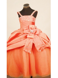 Discount  Orange Red Little Girl Pageant Dress Pick-ups Straps Beaded Decorate WithTaffeta Ball Gown In 2013