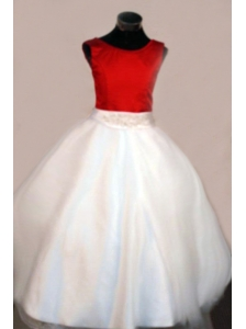 Discount Scoop Floor-length Satin A-line White Taffeta Beading Little Girl Pageant Dresses