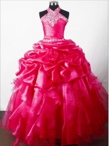 Discout Beading Hand Made Flower Ball Gown Little Girl Pageant Dress Halter Top Floor-length