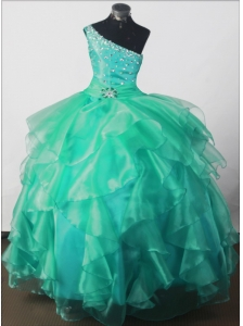 Elegant Beading Ball Gown One-shoulder Floor-length Little Girl Pageant Dress