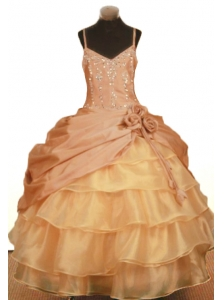 Elegant Hand Made Flowers Little Girl Pageant Dresses Ball Gown Straps Ruffled Layered Beading