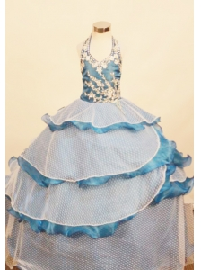 Elegant Ruffled Layered Little Girl Pageant Dress Ball Gown Halter Top Appliques