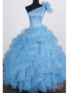 Exclusive Ball Gown Flower Girl Dress One Shoulder Floor-length Aqua Blue Organza Beading