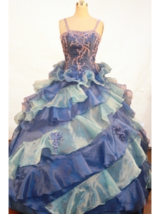 Exquisite Appliques Ruffles Ball Gown Straps Floor-length Little Girl Dress