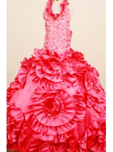 Exquisite Coral Red Little Girl Pageant Dresses Ball Gown Halter top neck Floor-Length