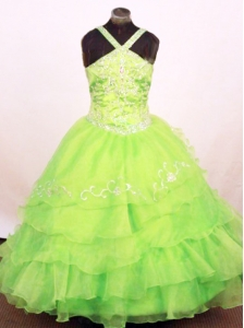 Exquisite Ruffled Layeres Little Girl Pageant Dress Spring Green Straps Floor-Length In 2013