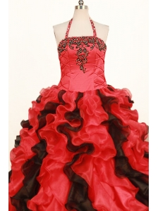 Fashionable Ruffles Little Girl Pageant Dresses Ball Gown Halter Red In 2013