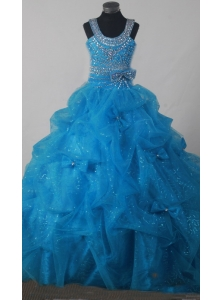 Gorgeous Beading Pick-ups Little Girl Pageant Dress Ball Gown Scoop Floor-length