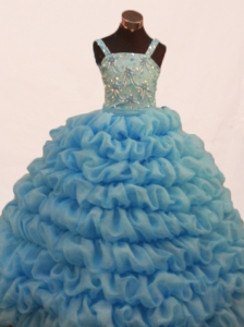Gorgeous Pick-ups and Beading Decorate Bodice Ball Gown Straps Floor-length Little Girl Dress