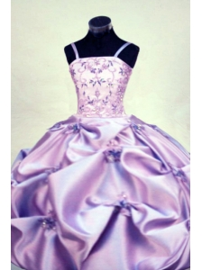 Gorgeous Straps Floor-length Beading Ball gown Lilac Little Girl Pageant Dresses