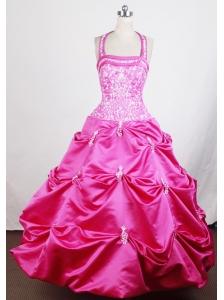 Halter Top and Embroidery For Hot Pink Little Girl Pageant Dresses With Appliques and Pick-ups