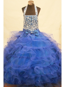 Halter Top Blue and Beading Bowknot For Little Girl Pageant Dresses
