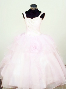 Hand Made Flowers Ball Gown Straps Organza Beading Little Girl Pageant Dresses