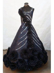 Hand Made Flowers Scoop Floor-length Black Satin Beading Little Girl Pageant Dresses