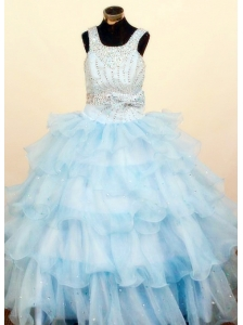 Lovely Baby Blue Ruffled Layeres Little Girl Pageant Dresses Square Neck Floor-Length Ball Gown