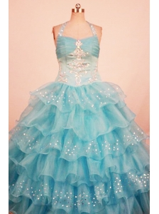 Lovely Ball Gown Little Girl Pageant Dress Ruffled Layered Halter With Floor-Length Aqua Blue Organza