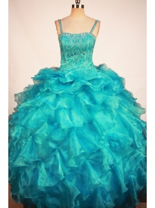 Lovely Blue Little Girl Pageant Dresses With Ruffles and Beading