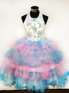 Lovely Colorful  Little Girl Pageant Dresses With Appliques and Ruffled Layers