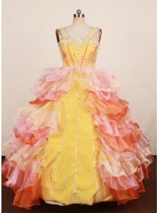 Lovely Multi-color Ruffled Layered Little Girl Pageant Dress Ball Gown With Straps Floor-Length